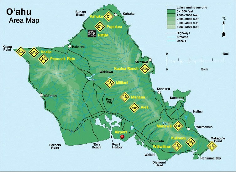 Map Of Mountain Bike Trails On Oahu